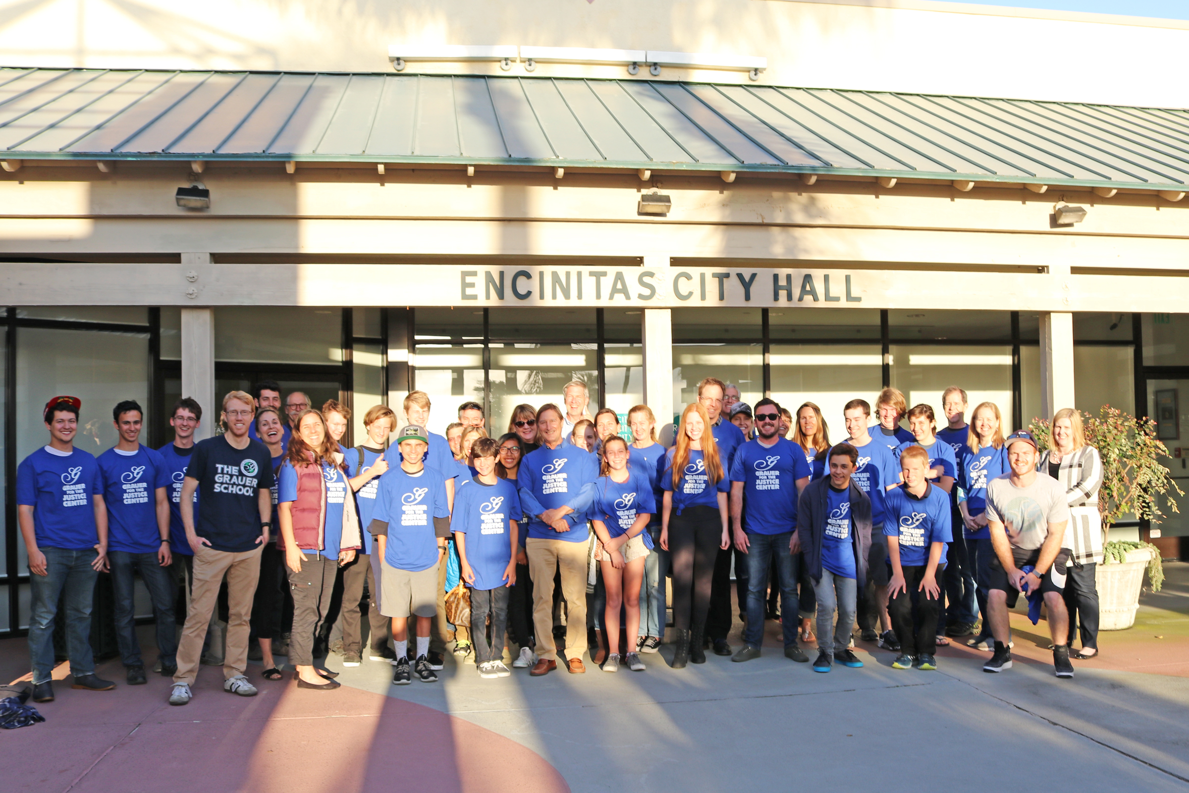 Grauer School community members outside of Encinitas City Hall