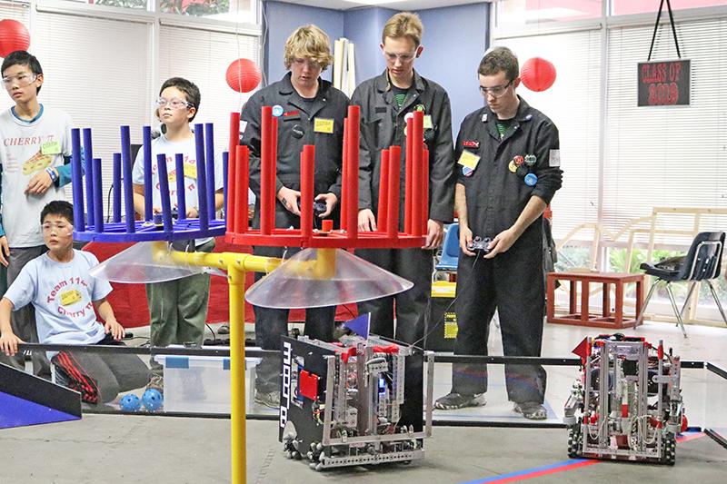 The Grauer high school robotics team in action