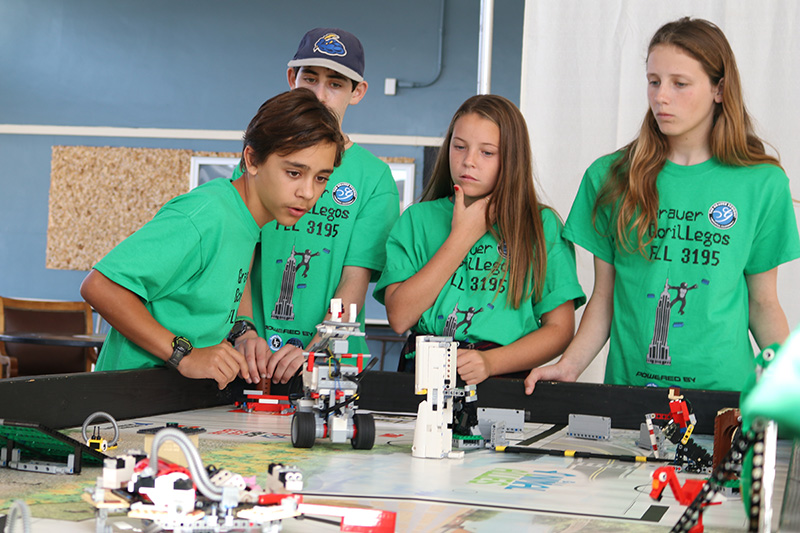 The Grauer middle school robotics team at a competition